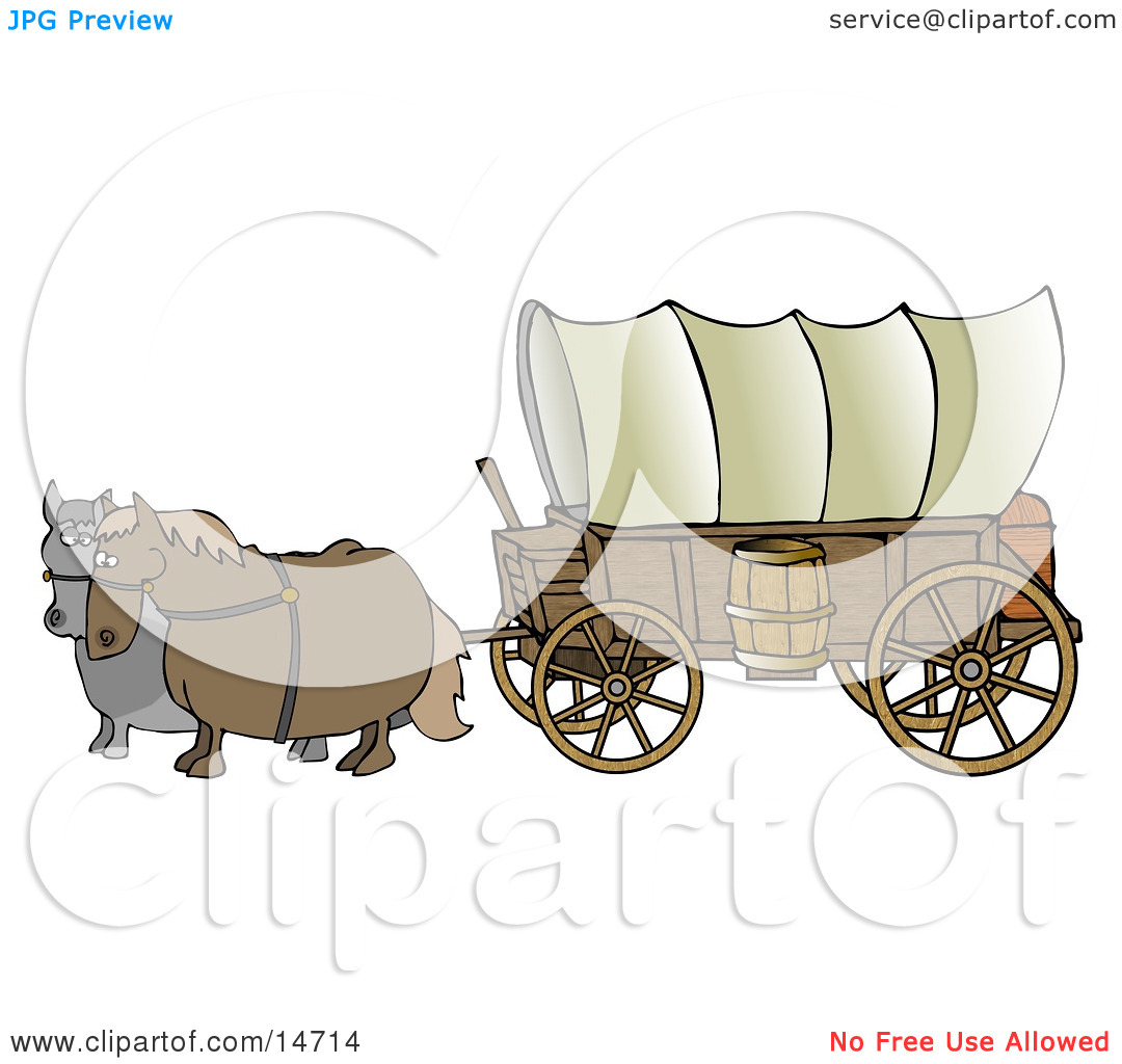 Pulling A Big Covered Wagon On The Oregon Trail Clipart Illustration