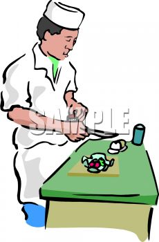 This Asian Chef Cutting Vegetables Clipart Image Can Be Licensed As