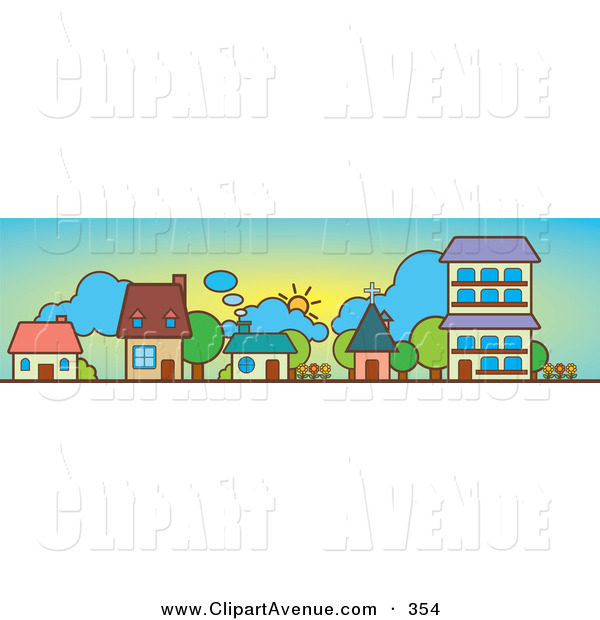 Avenue Clipart Of A Trio Of Row Houses A Church And Apartment
