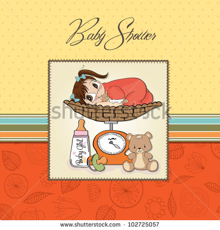 Beautiful Baby Girl On On Weighing Scale   Stock Vector