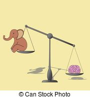 Brain Overweight Elephant On Measur Stock Illustrations