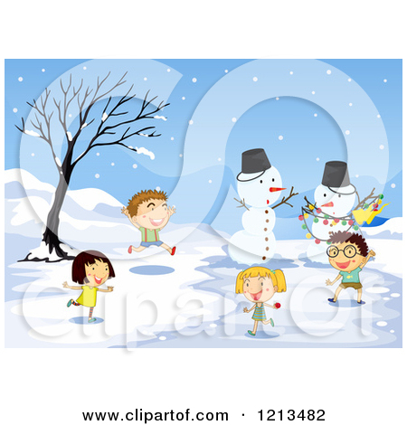 Children Playing In The Snow   Royalty Free Vector Clipart By Colematt