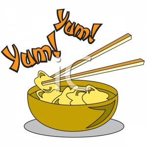 Chopsticks With A Bowl Of Won Ton Soup Clipart Image