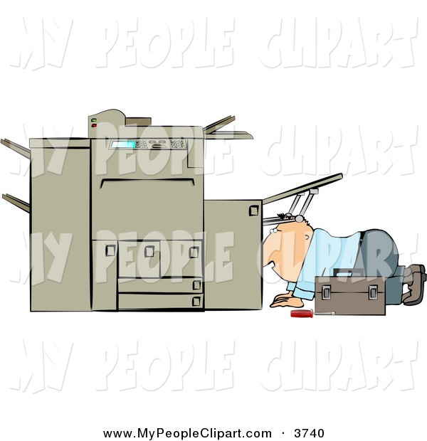 Clip Art Of A Kneeling Repairman Trying To Fix A Broken Copy Machine