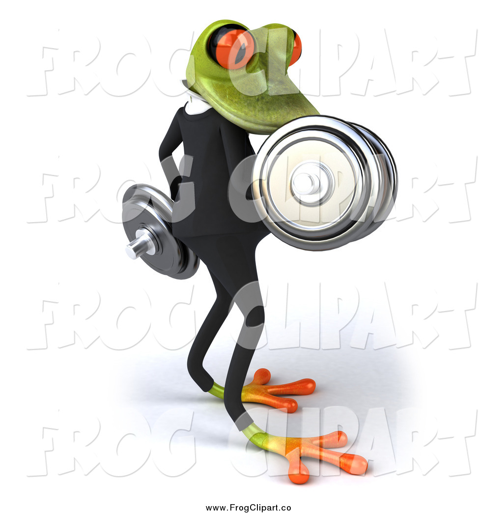 Larger Preview  Clip Art Of A 3d Business Frog Doing Bicep Curls With