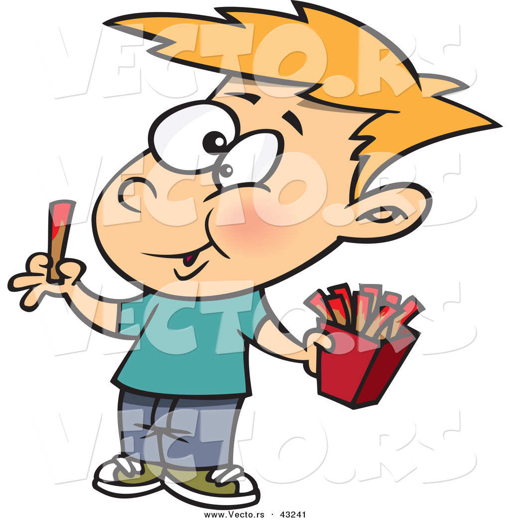 Larger Preview  Vector Of A Happy Cartoon Boy Eating French Fries With