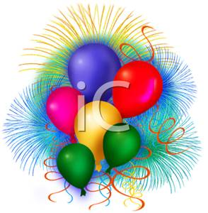 Of Colorful Balloons With Fireworks   Royalty Free Clipart Picture