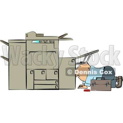 Repairman Trying To Fix A Broken Copy Machine Clipart   Djart  4348