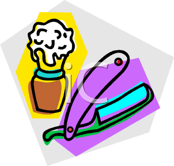 With Soap And A Straight Razor   Royalty Free Clip Art Illustration