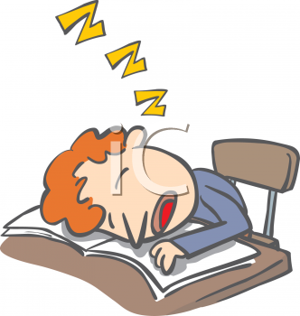 Boy Who Fell Alseep While Doing His Homework   Royalty Free Clip Art