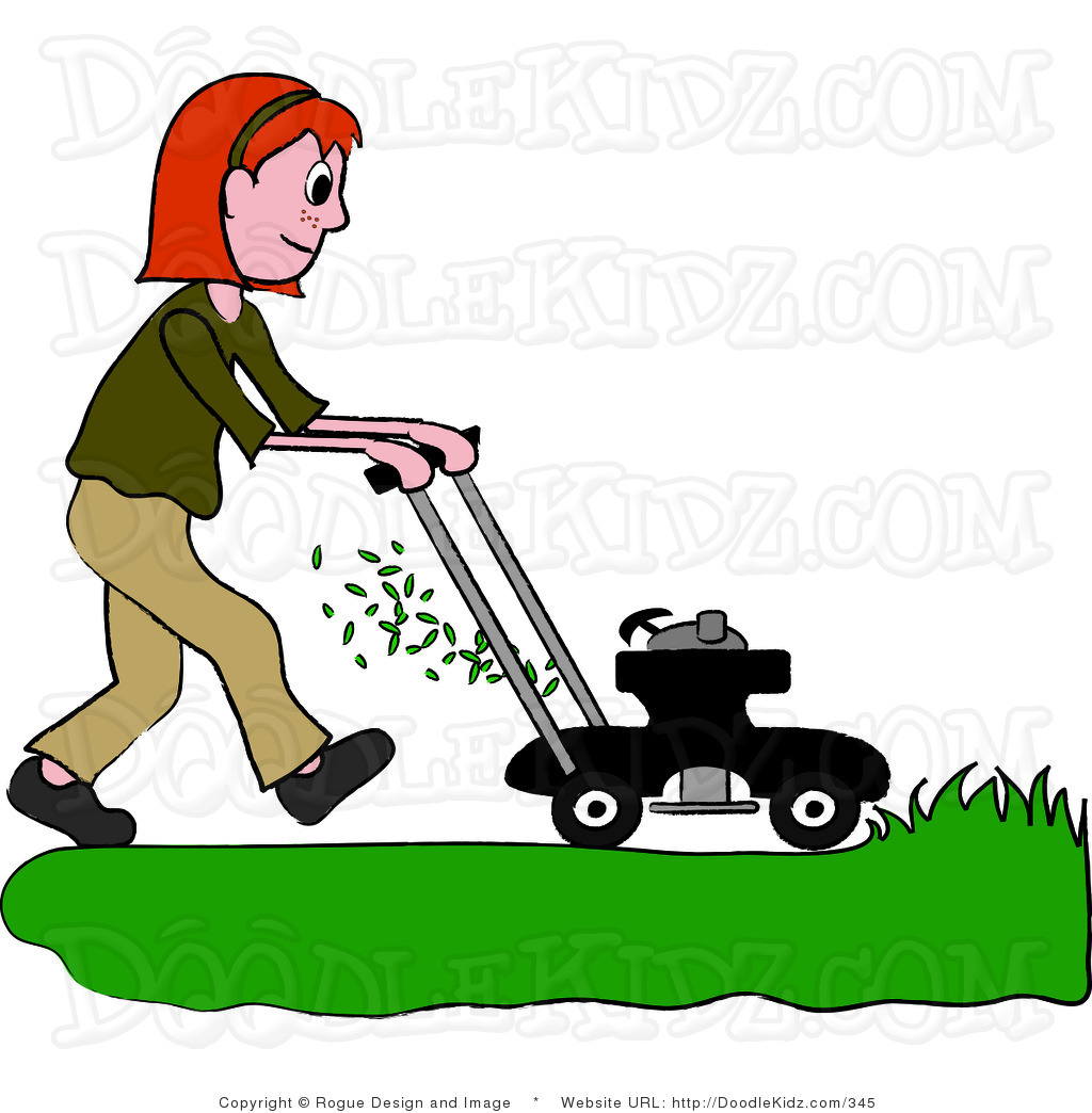 Clip Art Illustration Of A Red Haired Teenage Girl Mowing The Lawn