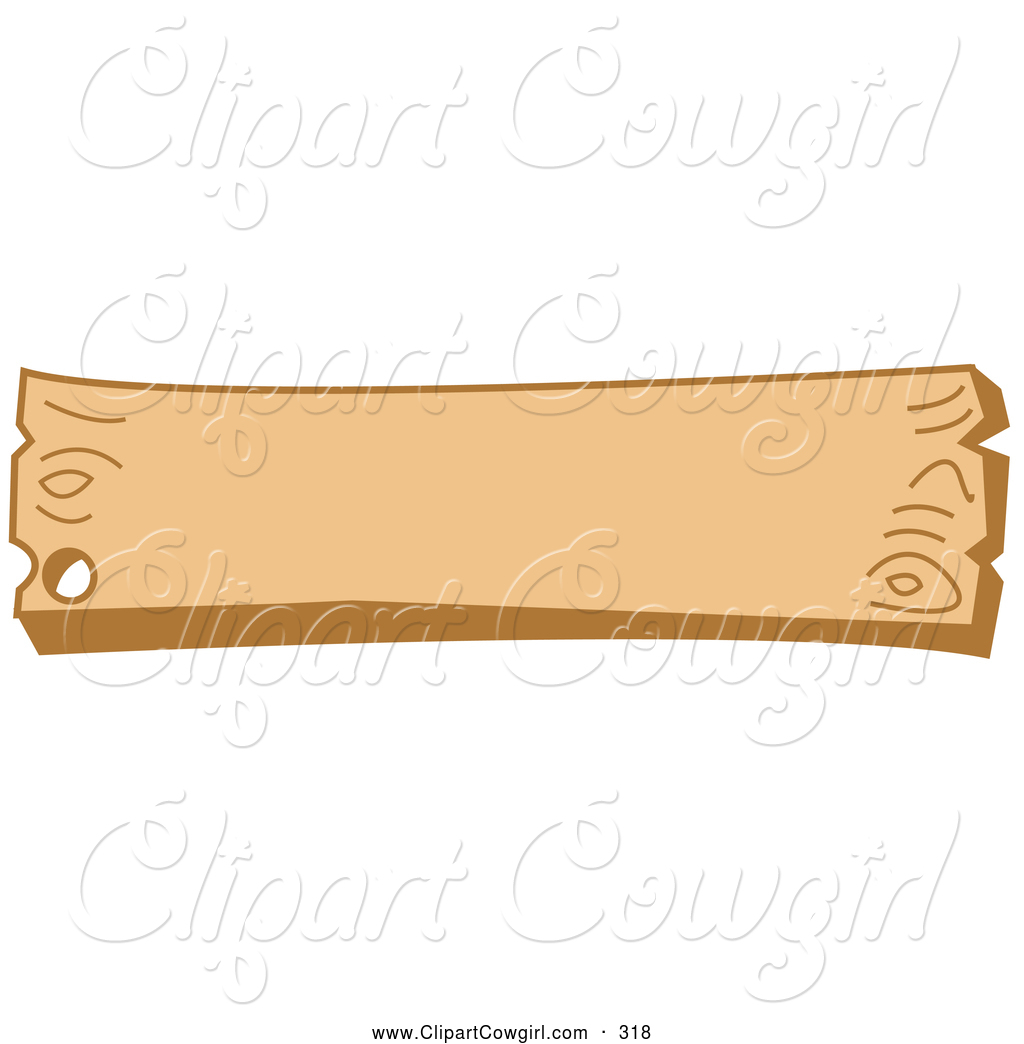 Clipart Of A Blank Wood Western Style Sign With A Nail Hole On White
