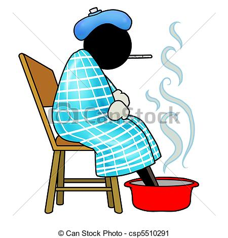 Clipart Of Sick   Silhouette Man Is Sick Resting With A Thermometer In
