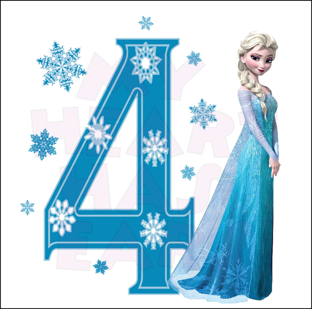 Disney S Frozen Elsa Birthday With Number 4 Instant Download Digital