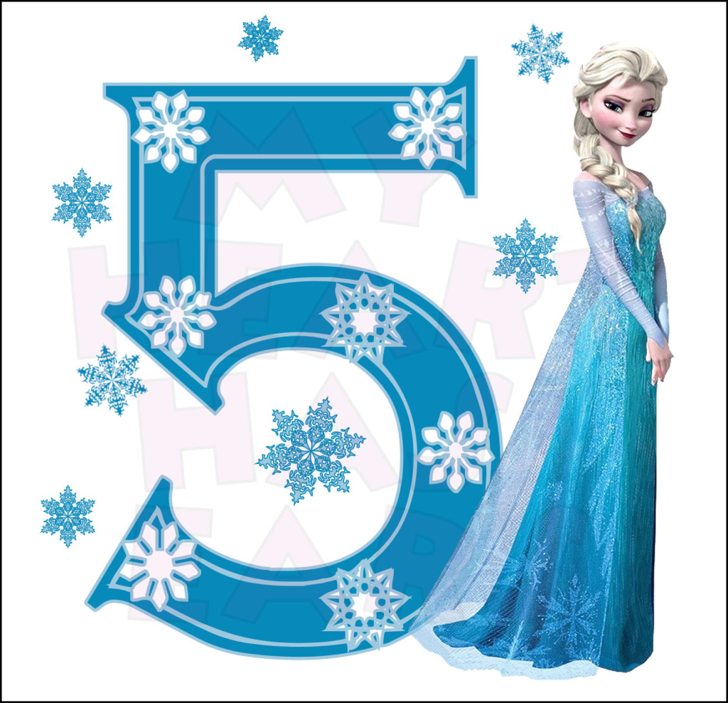 Disney S Frozen Elsa Birthday With Number 5 Instant Download Digital