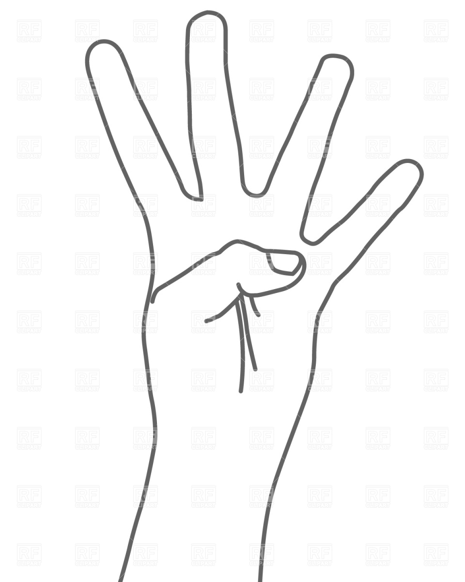 Four Fingers Hand Sign 681 Download Royalty Free Vector Clipart  Eps