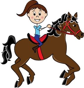 Girl Riding A Horse Clipart Image   Little Girl Child Riding A Pretty