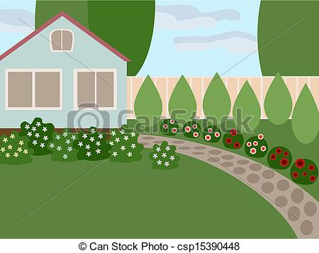 Lawn And Blooming Flowers In The Yard No    Csp15390448   Search Clip