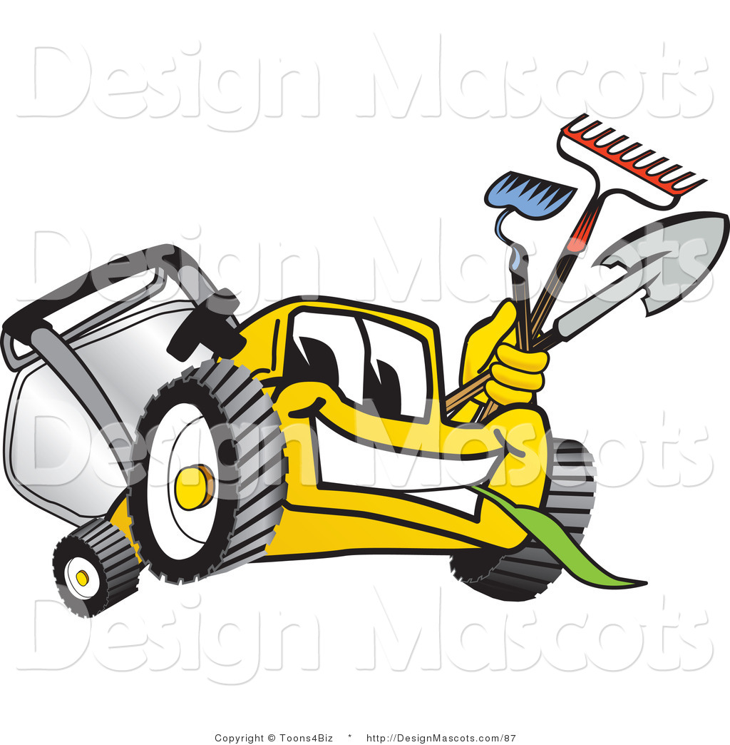 Lawn Clip Art Clipart Of A Yellow Lawn Mower Royalty Free By Toons4biz