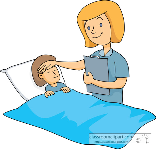 Medical   Nurse Taking Care Sick Child   Classroom Clipart