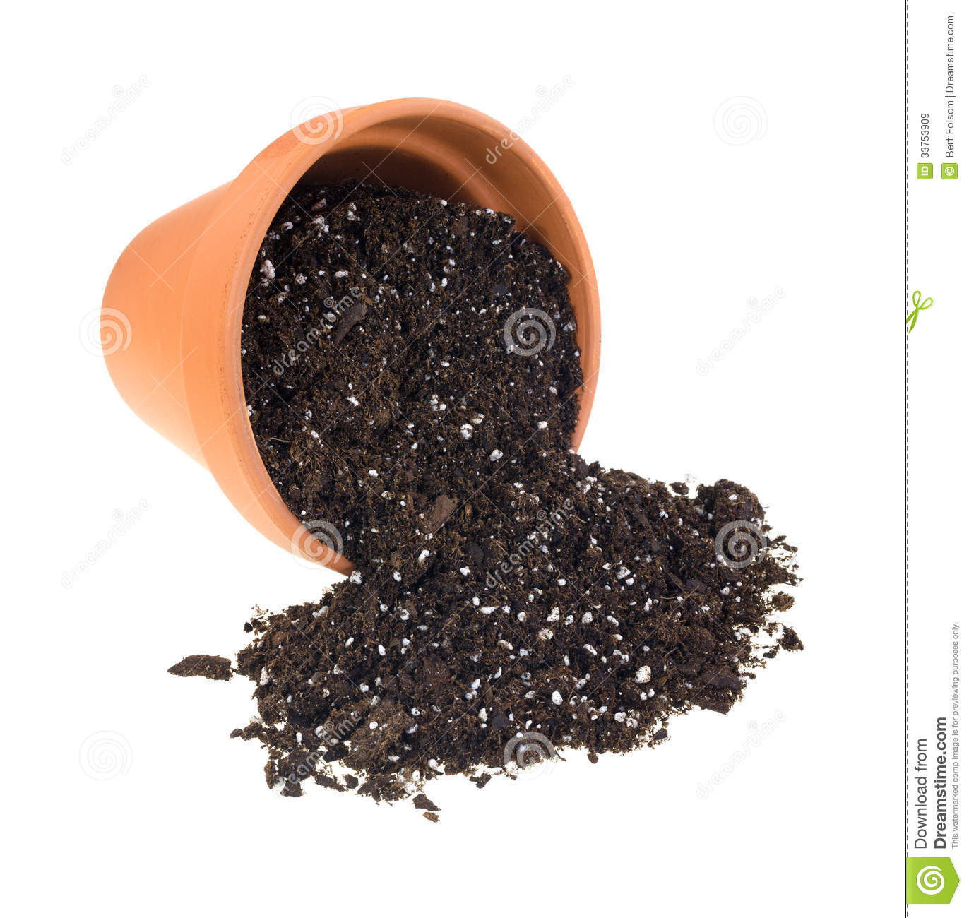 Organic Potting Soil Spilling From Cay Pot Royalty Free Stock Images