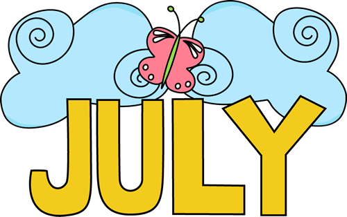 Pretty July Clip Art Image   The Word July In Yellow Surrounded By