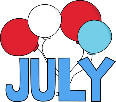 Red White And Blue July Clip Art Image   The Word July In Red White