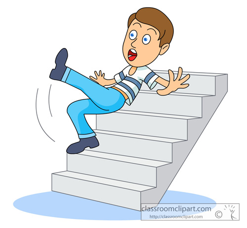 Safety   A Person Falling Down Stairs   Classroom Clipart