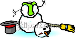 Snowman Who S Head Fell Off   Royalty Free Clipart Picture