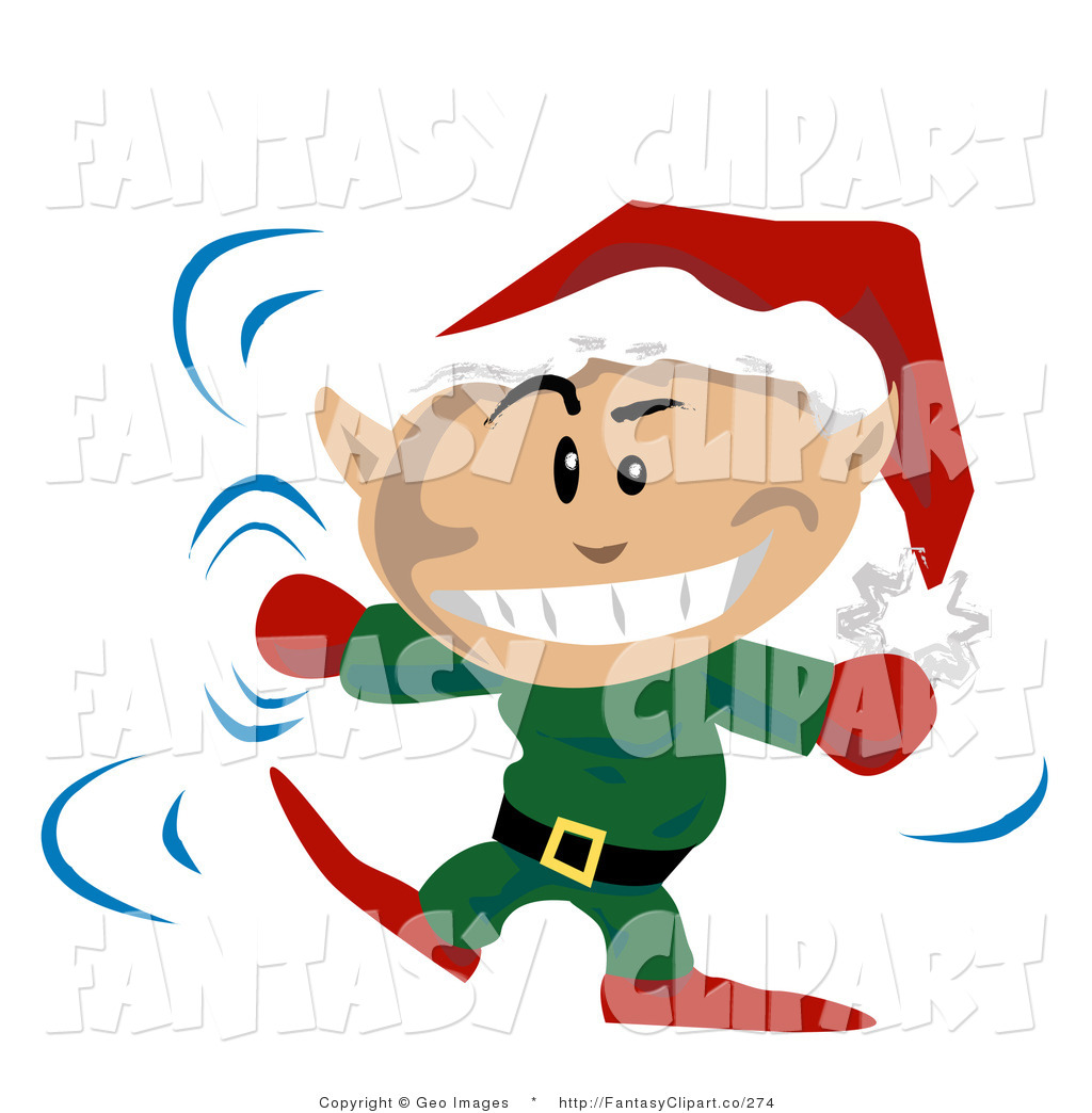 Art Of A Festive Christmas Elf Wearing A Santa Hat And Dancing