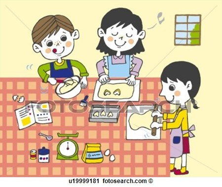 Children Making Cookies Painting Illustration Illustrative