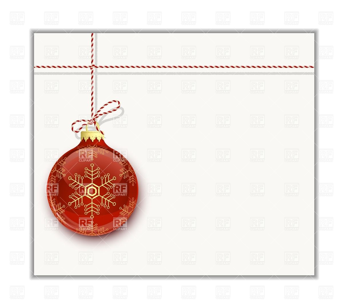 Christmas Card Template   Red Christmas Bauble With Snowflake 26942