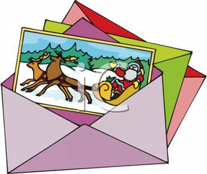 Clipart Image  A Christmas Greeting Card In An Envelope