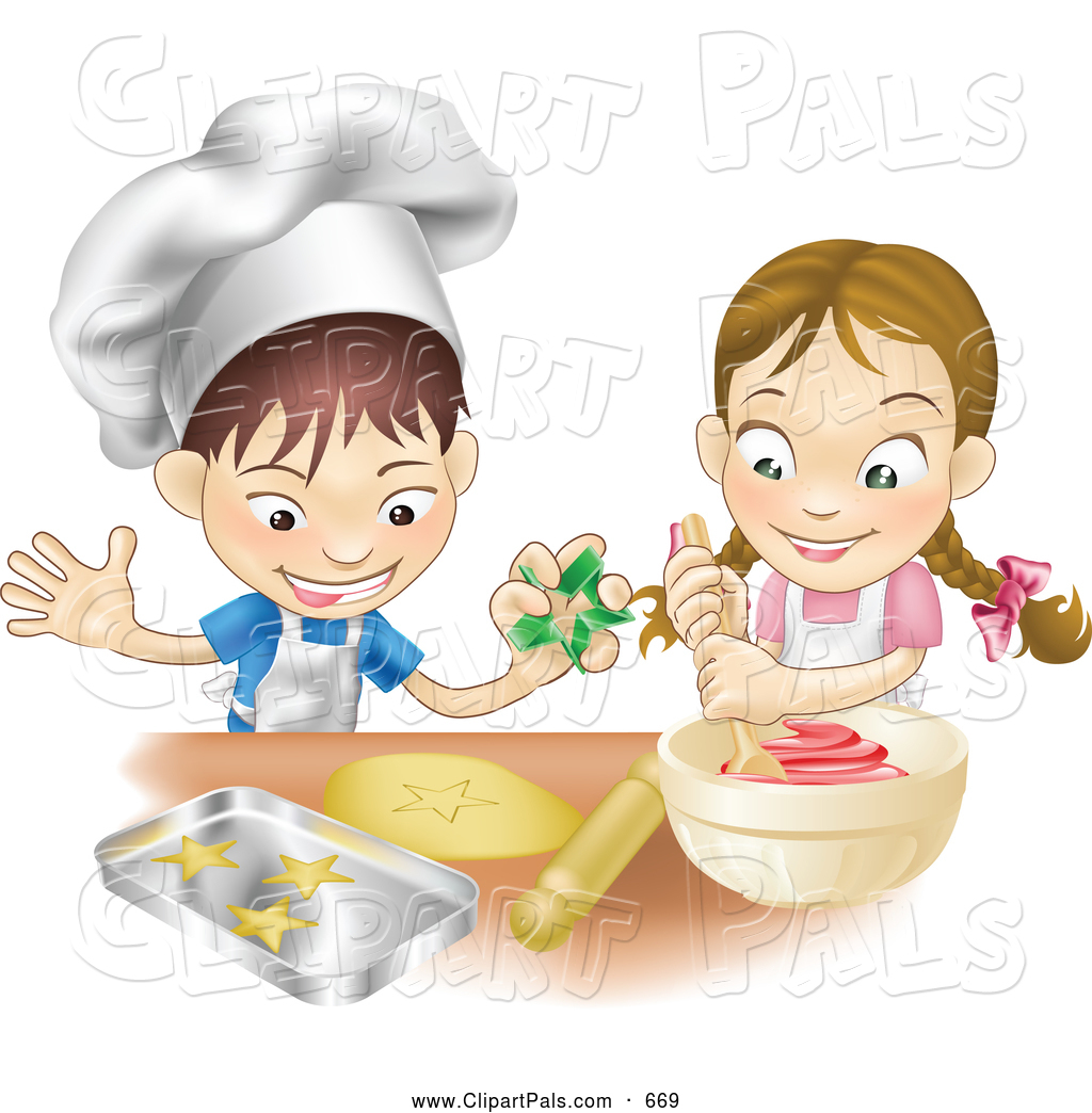 Clipart Of A Pair Of Kids A Happy White Boy And Girl Making Cookies