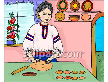 Clipart Picture Of An Ethnic Woman Making Cookies