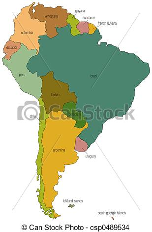Drawing Of South America 01   A Full Color Map Of South America With