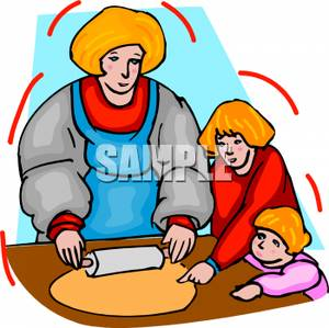 Family Making Cookies   Royalty Free Clipart Picture