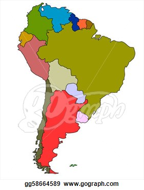 Full Color Map Of South America  Clipart Drawing Gg58664589
