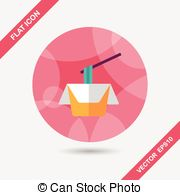 Instant Noodles Flat Icon With Long Shadoweps10 Vectors Illustration