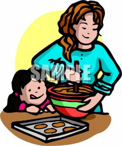Mother And Daughter Making Cookies   Royalty Free Clipart Picture