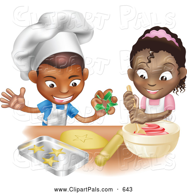 Pal Clipart Of A Friendly Black Boy And Girl Making Cookies Together