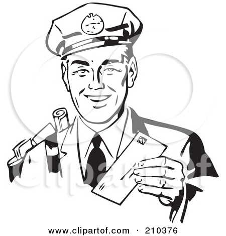 Mailman Clipart Black And White