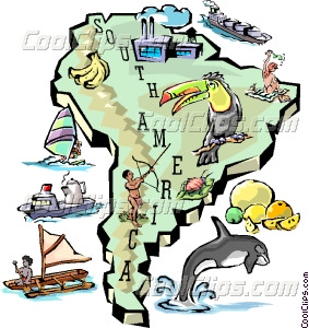 South America Map Vector Clip Art