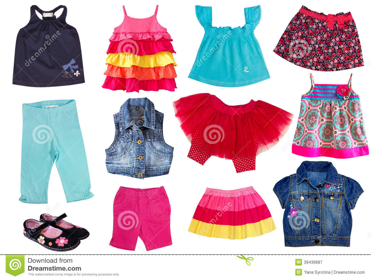 Summer Clothes Clipart For Kids Collage Female Kid Summer ...
