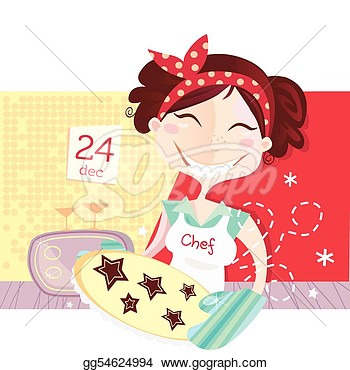 Woman Is Making Christmas Cookies  Stock Clipart Gg54624994