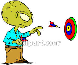 Alien Playing Darts   Royalty Free Clipart Picture