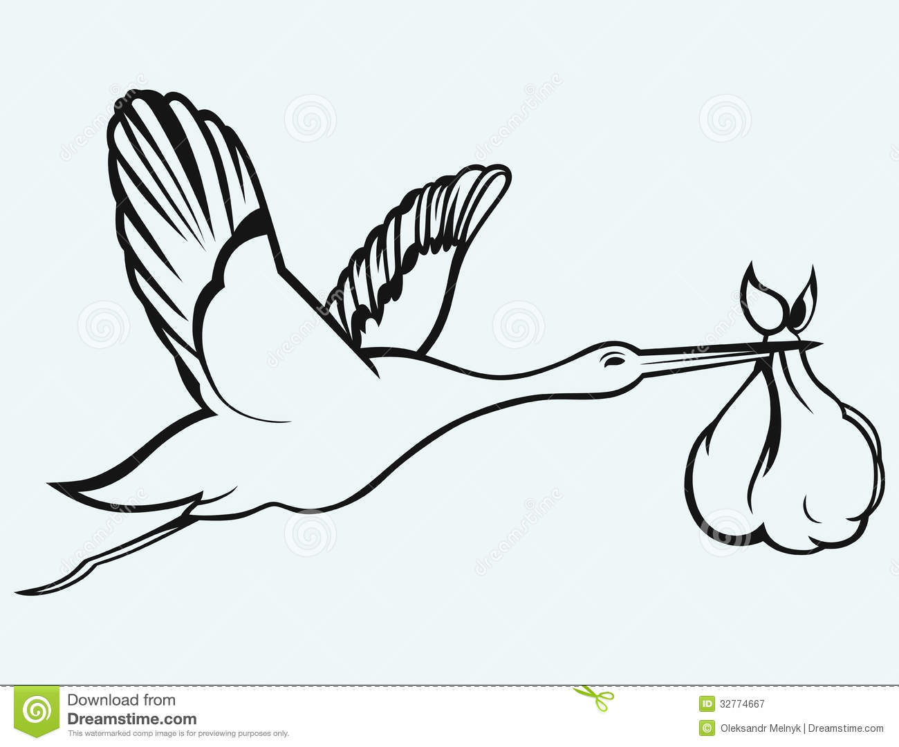 Baby Stork Clipart Black And White Stork With Baby Isolated On