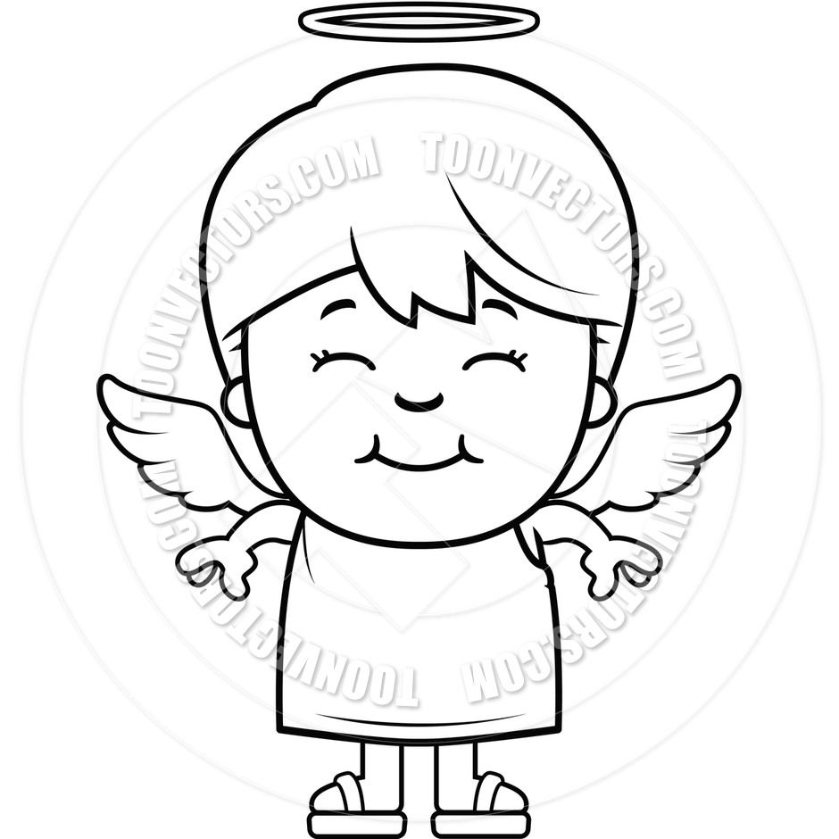 Boy Angel  Black And White Line Art  By Cory Thoman   Toon Vectors Eps