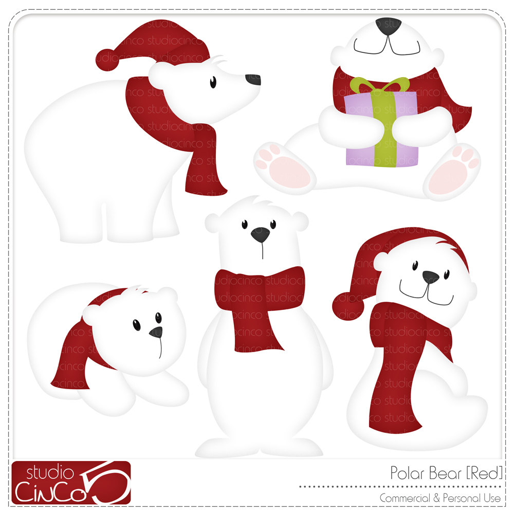 Christmas Polar Bear Clip Art Polar Bear Red Digital Clip