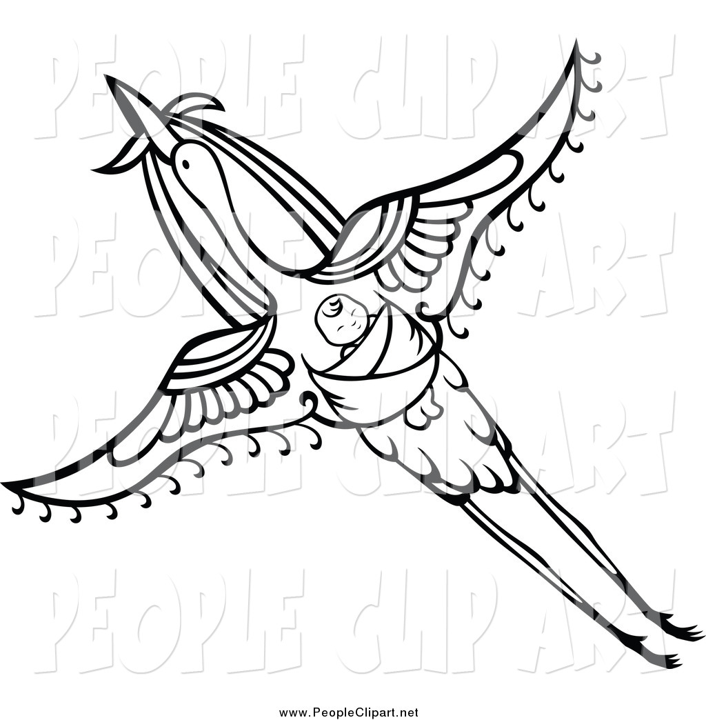 Clip Art Of A Black And White Flying Stork With A Baby